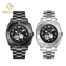 PRINCE GERA Black /Sliver Automatic Mechanical Watches Diver Sport Luxury Brand Mens Business Wrist watch Male Clock