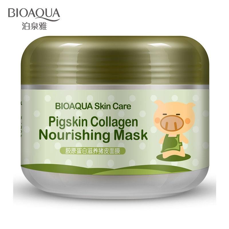 BIOAQUA Face Skin Care Pigskin Collagen Sleeping Mask Shrink Pore Moisturizing Acne Blackhead Treatment Facial Masks