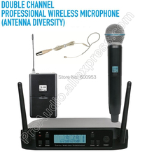 MICWL New UHF 600-650MHz Wireless Digital karaoke Handheld Headset Lavalier Instrument Microphone System Dual Channel Design