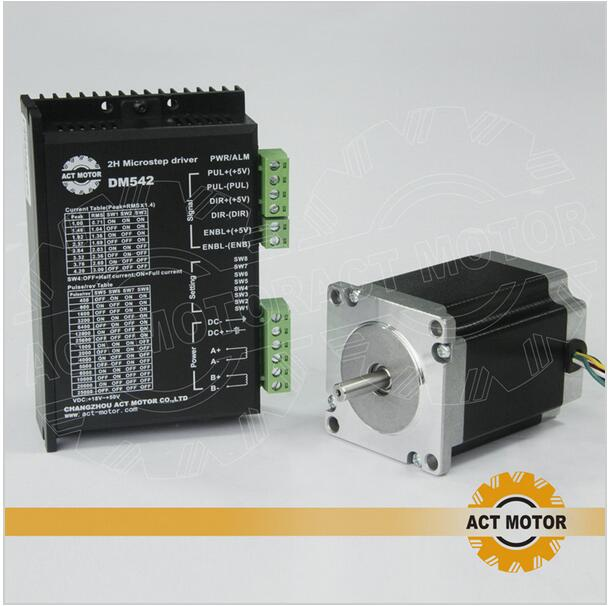 ACT Motor 1PC Nema23 Stepper Motor 23HS8630 Single Shaft 6-Lead 270oz-in 76mm 3A+1PC Driver DM542 4.2A 50V 128Micro US DE Free