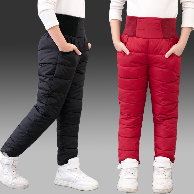 Child Girl Boy Winter Pants Cotton Padded Thick Warm Trousers Waterproof Ski Pants 10 12 Year Elastic High Waisted Baby Kid Pant-in Pants from Mother & Kids on AliExpress
