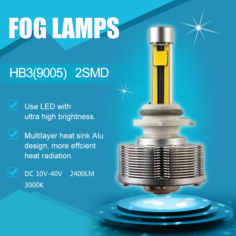 2pcs/lot High Quality HB3(9005)  LED Fog Lights Automobiles Convision Bulbs 2SMD 3000K Super YellowDC12V 40V