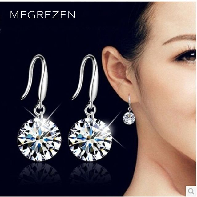 Costume Jewellery Pusety Stud Earrings With Cubic Zirconia Crystal Jewelry White Round Female Bijouterie B002