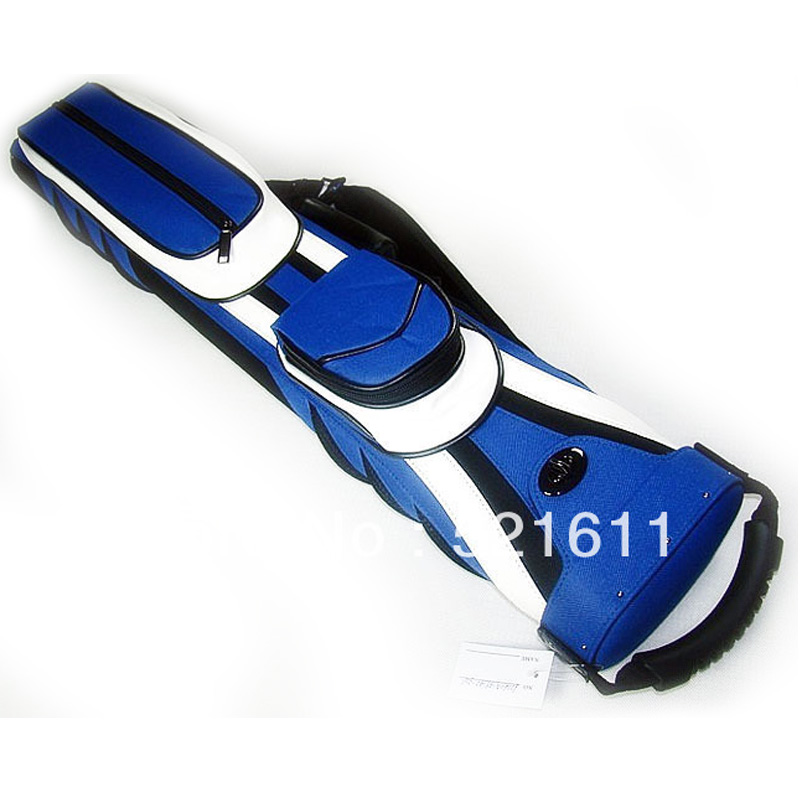 xmlivt High quality 6Holes leather billiards Pool Sport design cue case in 2B4S/2butts 4shafts blue and white design