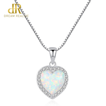 DR 100% 925 Sterling Silver Heart Design Opal Pendant Necklace for Women Charming Silver Chain Pendant Necklace Jewelry Gift charming coin triangle pendant necklace for women