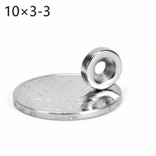 10*3 100pcs Ring 10mm x 3mm Hole: 3mm strong neodymium magnet n52 powerful neodimio super magnets imanes free shipping(China)