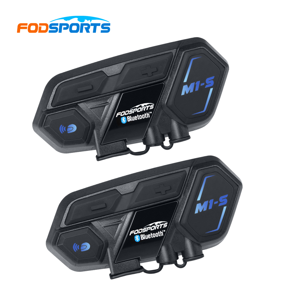 2 pcs Fodsports Motorcycle Headset Helmet Intercom M1-S 8 Riders 2000m Group Talk Moto Bluetooth Helmet Headsets