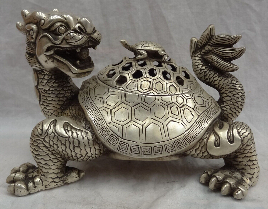 decoration bronze factory outlets Tibet Silver  10 Chinese Silver Unicorn Shou Dragon Turtle Statue Box Incense Burner Censerdecoration bronze factory outlets Tibet Silver  10 Chinese Silver Unicorn Shou Dragon Turtle Statue Box Incense Burner Censer