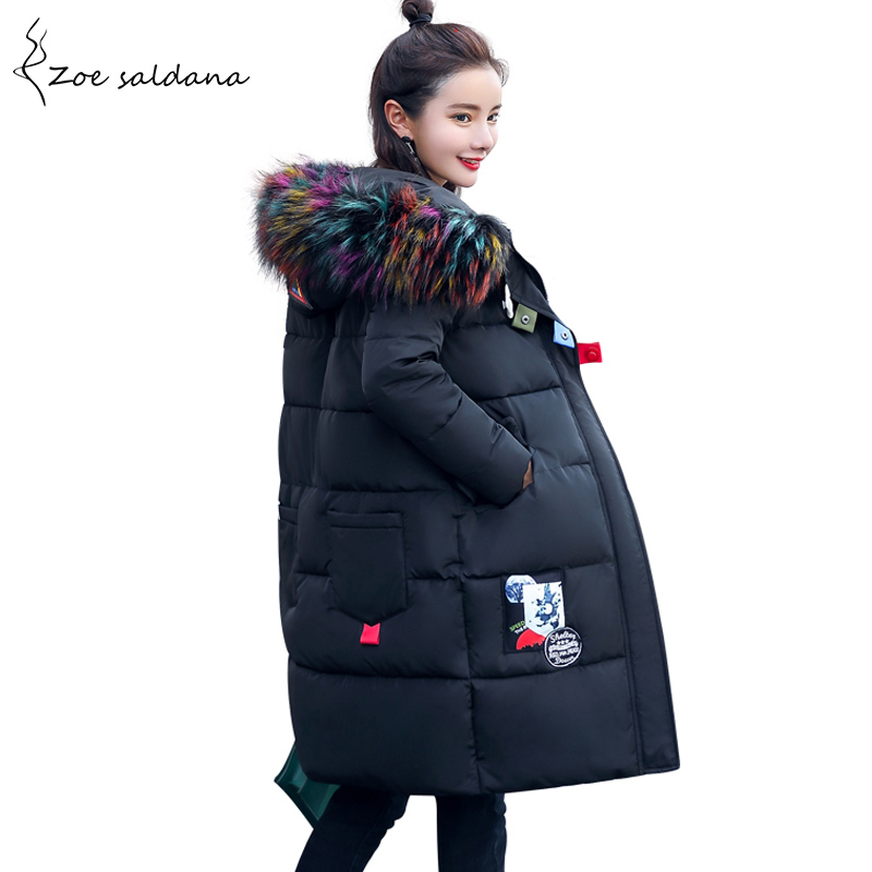 Zoe Saldana 2017 Large Fur Collar Women Winter Coat Parka Long Thick Slim Winter Jackets Plus Size Outerwear zoe saldana 2017 winter women coat long cotton jacket fur collar hooded letter print outerwear femme casual parka