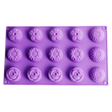 Flower Silicone Soap Mold 15-Cavity Cake Decoration Tools Candy Chocolate Mould Making Supplies