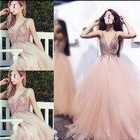 Princess Evening Dress abiye Robe De Soiree Blush Pink Formal Evening Gowns Long vestido de festa Beaded Modest Evening Dresses