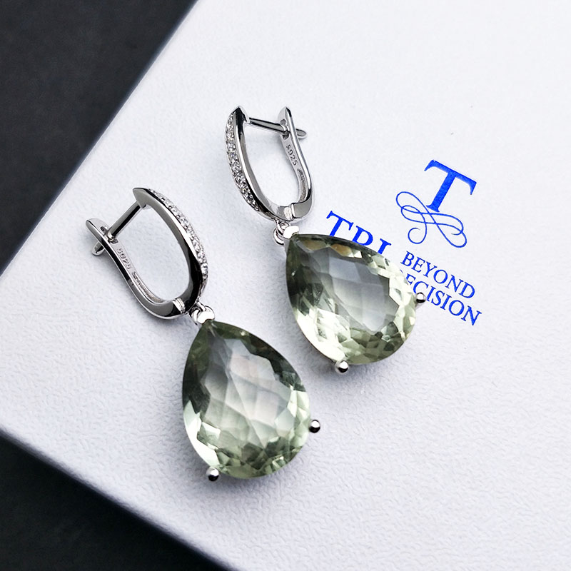 TBJ,big natural  green amethyst 14ct checkerboard cutting gemstone classic fine earring jewelry 925 sterling silver for women