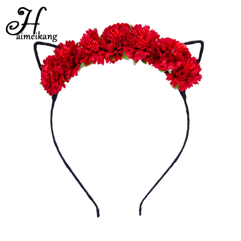 Haimeikang Cute Flower with Cat Ear Hair Hoop Hairband for Women Girls Fashion Colorful Cat Ears Headband Headwear high quality removable bedroom tiger decoration wall art sticker