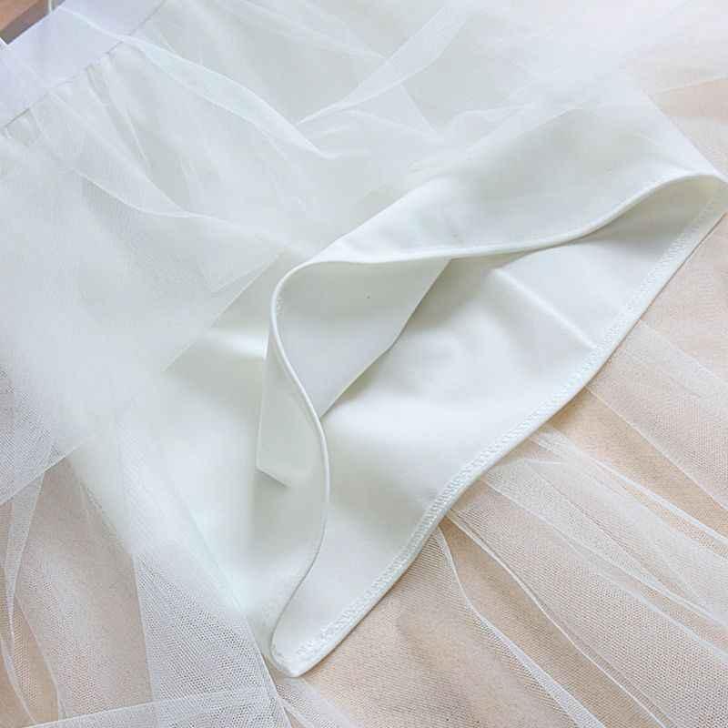 נשים גבוהה מותן מסולסל תחרה לקצץ Midi ארוך חצאית מרופדת צבע סדיר Hem קפלים שכבה כפולה Sheer Mesh המפלגה