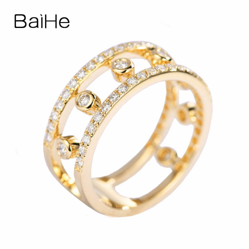 BAIHE Solid 14K Yellow Gold (AU585) H/SI About 0.50ct 100% Genuine Natural Diamonds Engagement Cute/Romantic Fashion Gift RingBAIHE Solid 14K Yellow Gold (AU585) H/SI About 0.50ct 100% Genuine Natural Diamonds Engagement Cute/Romantic Fashion Gift Ring