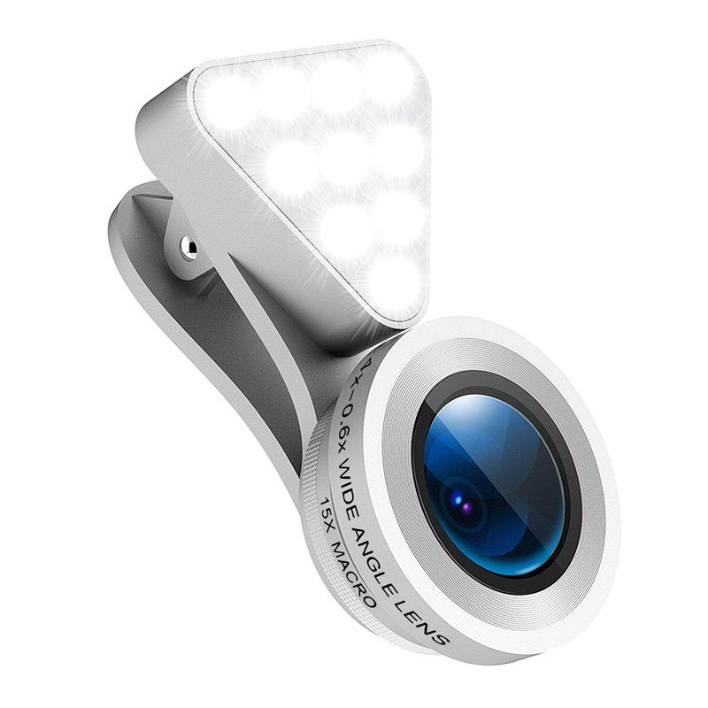 Phone Camera Lens Rechargeable Selfie LED Macro 0.4X-0.6X Wide Angle Lens Adjustable Clip On Fill Light For iPhone Xiaomi Huawei