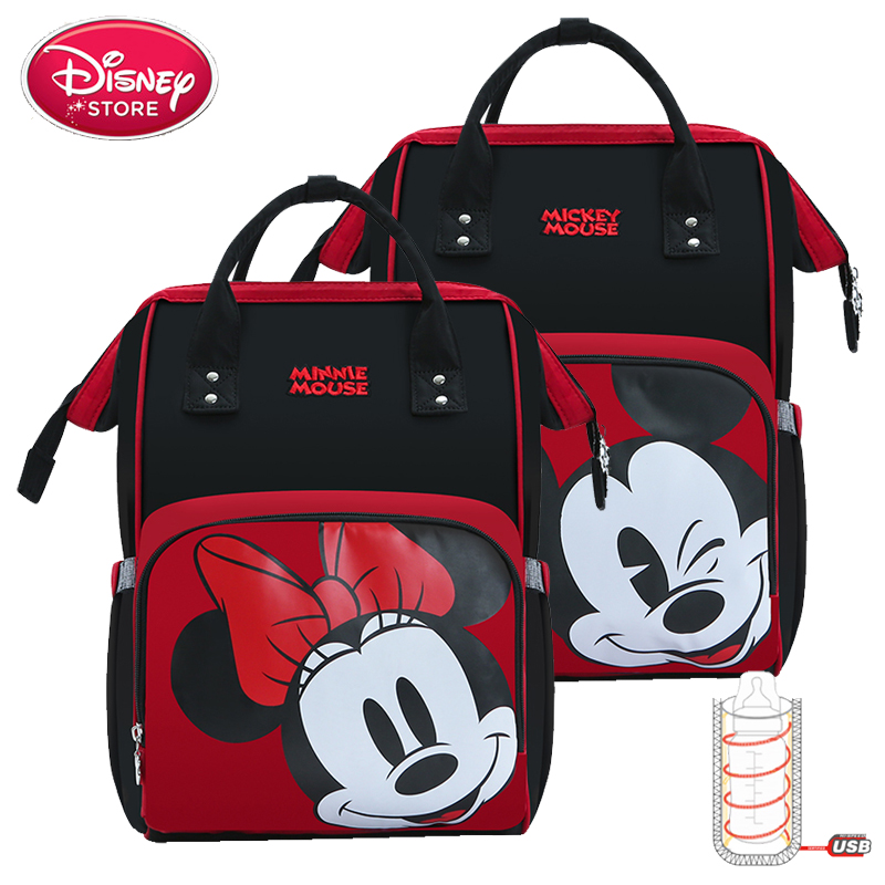 2019 Disney Bags Minnie Mickey Mouse Mummy Diaper Bag For Baby Care Maternity Backpack Nappy Bag USB Heating Insulation Handbag