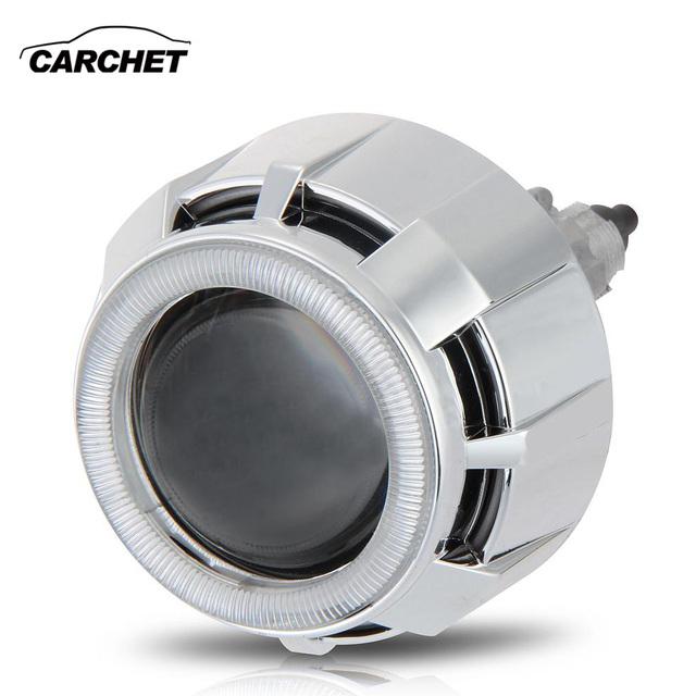 Carchet 2.5 polegada bi-xenon hid farol do carro ccfl duplo angel eye Lâmpada do projetor Lente do Kit 6000 K 35 W H1 Farol Do Carro Uma Peça