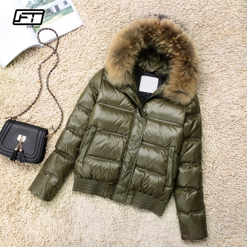 Fitaylor Winter Women Warm White Duck   Down   Hooded Jacket Short   Coats   Large Raccoon Fur Collar Female Slim Casual   Down   Outerwear