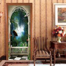 2 Pcs /set Colourful Mushroom forest Door Sticker Wallpaper