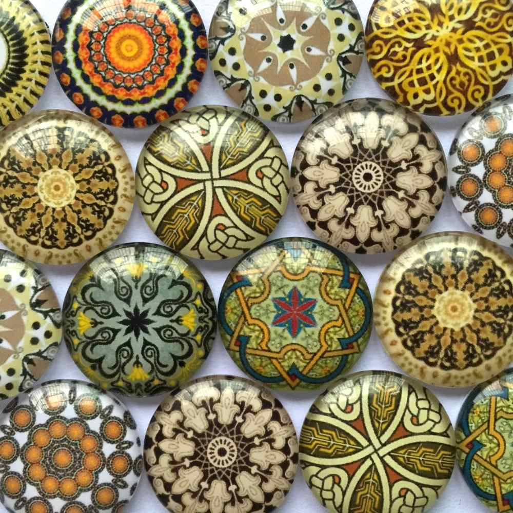 ZEROUP Round Glass Cabochon 12mm 20mm Mixed Pattern Handmade Diy Embellishments Supplies for Jewelry Clasps Craft TP-383