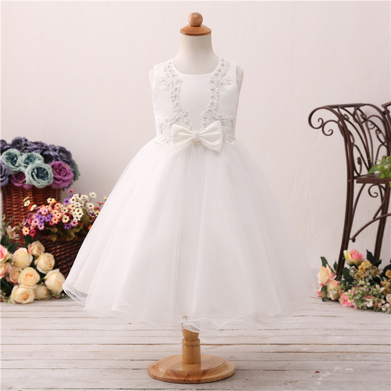 High Quality   Flower     Girls     Dresses   For Weddings 2019 Floor Length Bruidsjurk Meisje Bow Kiz Cocuk Abiye First Communion Gowns