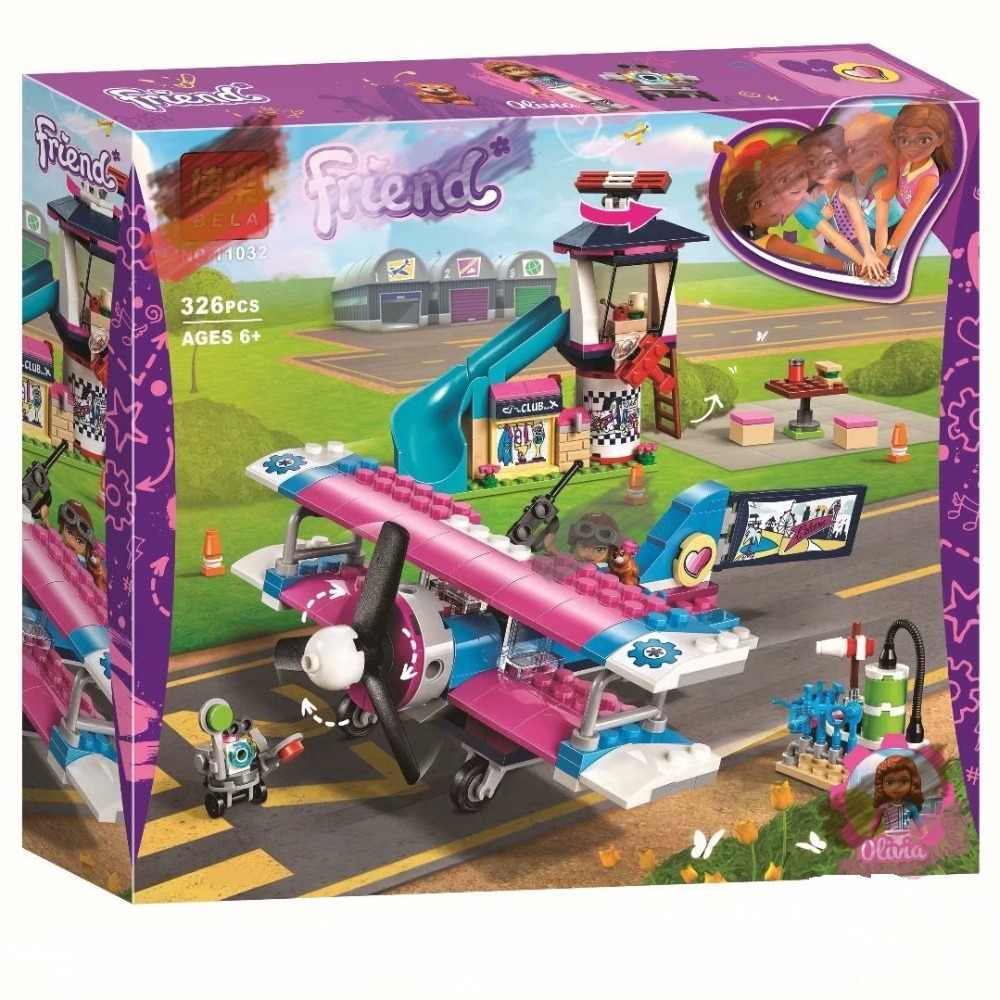 Emma Mandy Heartlake City Airplane Tour Building Blocks for Girl Kids Model Compatible with Lego Friends 41343 Bricks Toys Gift