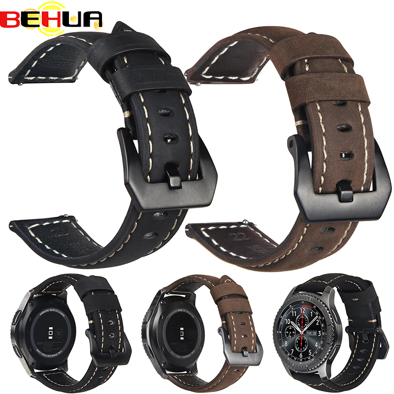 20mm 22mm Gear S3 S2 Genuine Leather Watch Strap Band For Samsung Galaxy 42mm/46mm Active For Amazfit Stratos 2 2S Bracelet Band