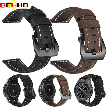20mm 22mm Gear S3 S2 Genuine Leather watch strap Band for Samsung Galaxy 42mm/46mm active for Amazfit Stratos 2 2S bracelet band watchbands 22mm sport silicone strap band for samsung gear s3 classic frontier replacement band for huami amazfit stratos 2 2s