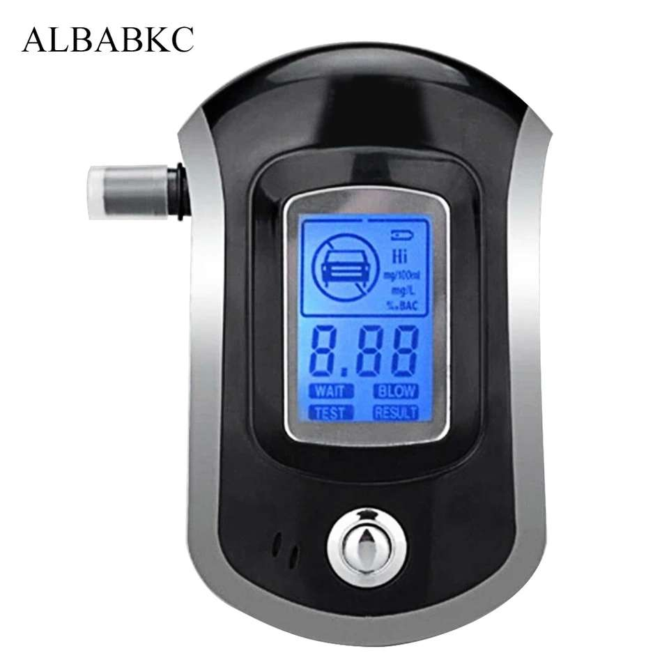 Large Digital LCD Display Blue Background Light Great for Night Reading POMILE Alcohol Tester Breathalyzer Portable Digital Breath Analyzer with Semi-conductor Sensor Extra 5 Pcs Mouthpieces
