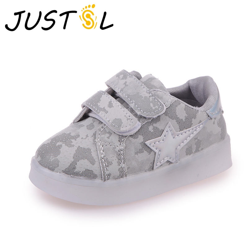 JUSTSL 2018 Spring Lighting Boys Girls White Shoes Kids LED Fashion Sneakers Children's Casual Flat Shoes Size 21-30