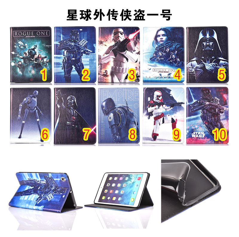 Tablet Case for Apple ipad 2 3 4 case Flip stand Star Wars ROGUE ONE movie prints PU Leather tablet Cover shell coque para capa  2016 new tablet case for apple ipad 4 3 2 flip stand alice in wonderland