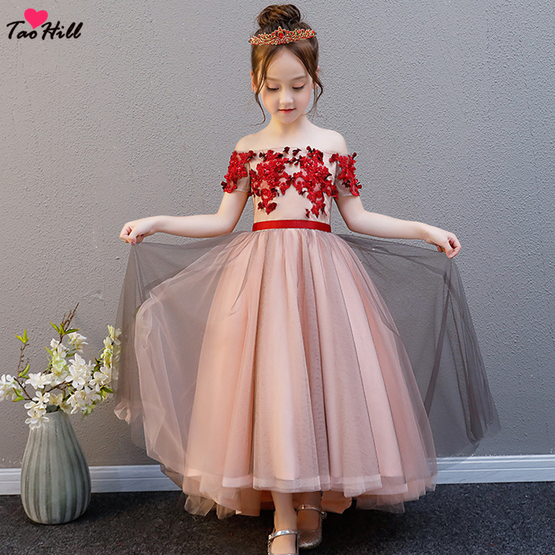 TaoHill 2019 High Low   Flower     Girl     Dresses   for Weddings Kids Pageant   Dress   Off the Shoulder First Communion   Dresses   for   Girl