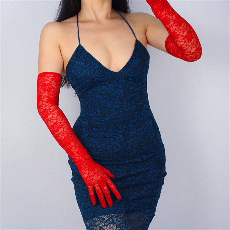 Woman Lace Long Gloves High Elastic Black Mesh Yarn Super Long White Vestido De Novia Touch Screen Mobile Phone 21 to 65cm TB111 in Women 39 s Gloves from Apparel Accessories