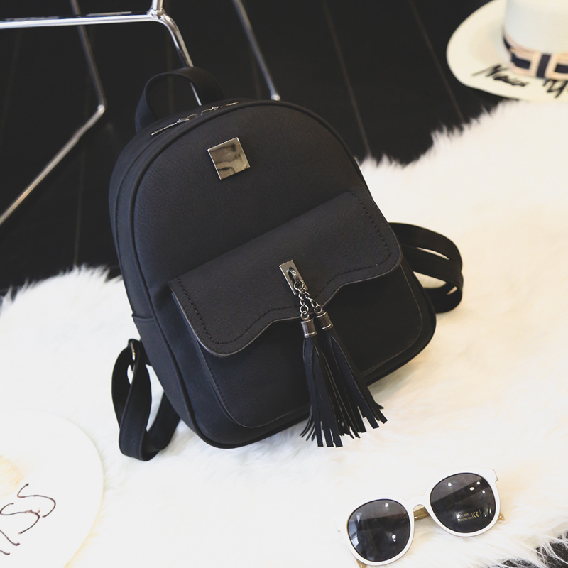 Six senses tassel women pu leather backpack teenage backpacks for girls vintage shoulder bag girl travel