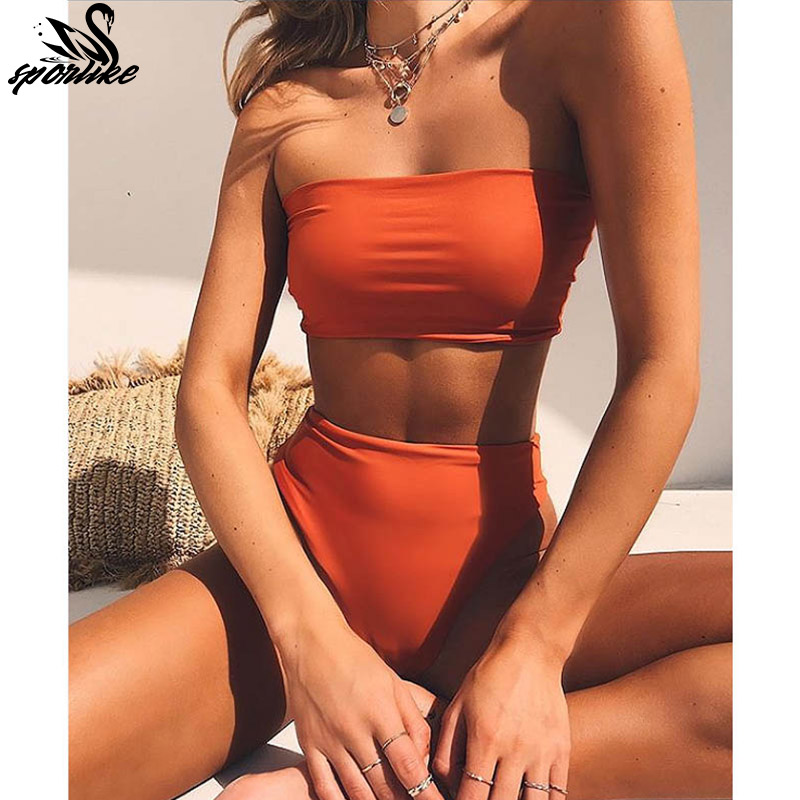 High Leg Bandeau bikini set Swimwear female two pieces swimsuit