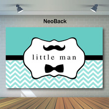 NeoBack Little Man Baby Shower Backdrop Boy Beard bow tie Photography Background for gentleman Blue Backdrops
