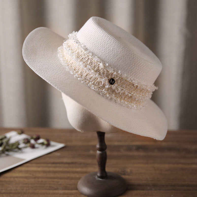 Classical Summer Beach Hat Wide Brim Straw Boater Canotier Sun Hats for Women 56-58cm
