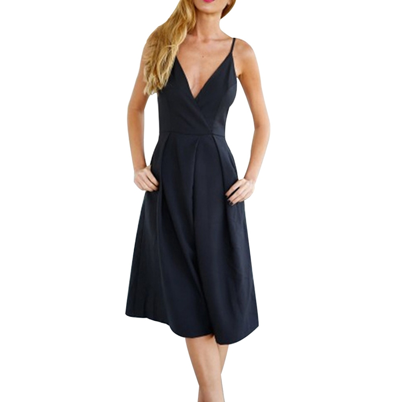 2018 New Wide Leg Black Jumpsuit Sexy Sleeveless Elegant Jumpsuit Ladies Deep V Sexy Halter Backless Jumpsuits For Women