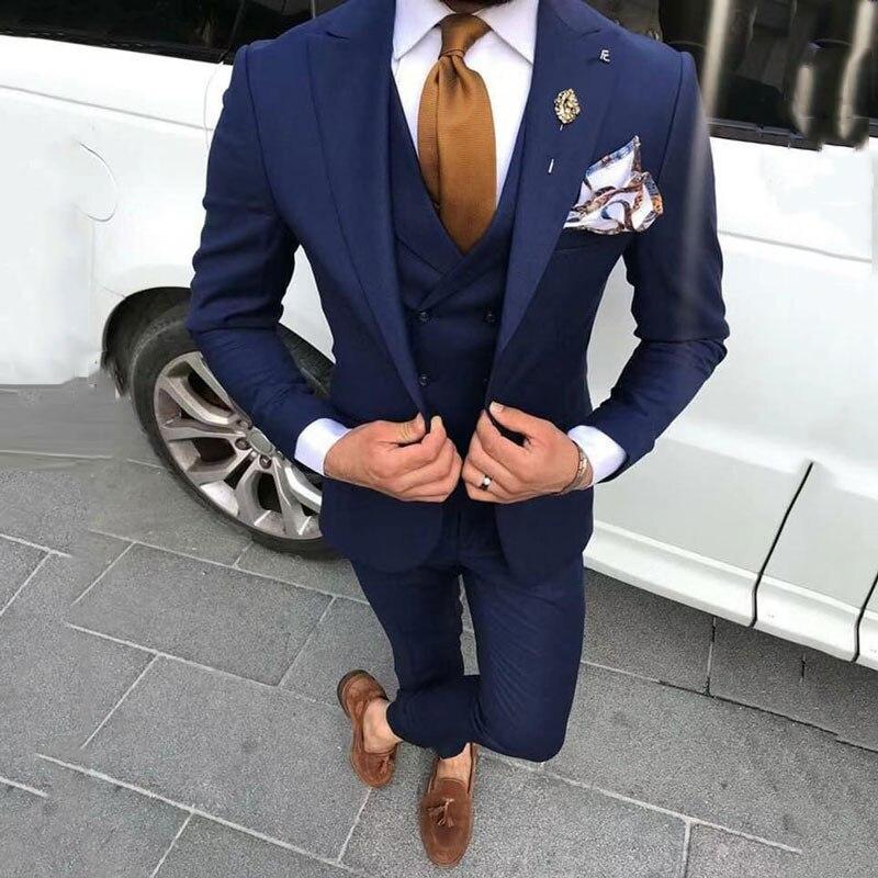 Najnowsze wzory płaszcz Pant granatowy mężczyźni garnitury na wesele bal mężczyzna Blazers Groom smokingi Terno Masculino kostium Homme 3 sztuka w Garnitury od Odzież męska na  Grupa 1