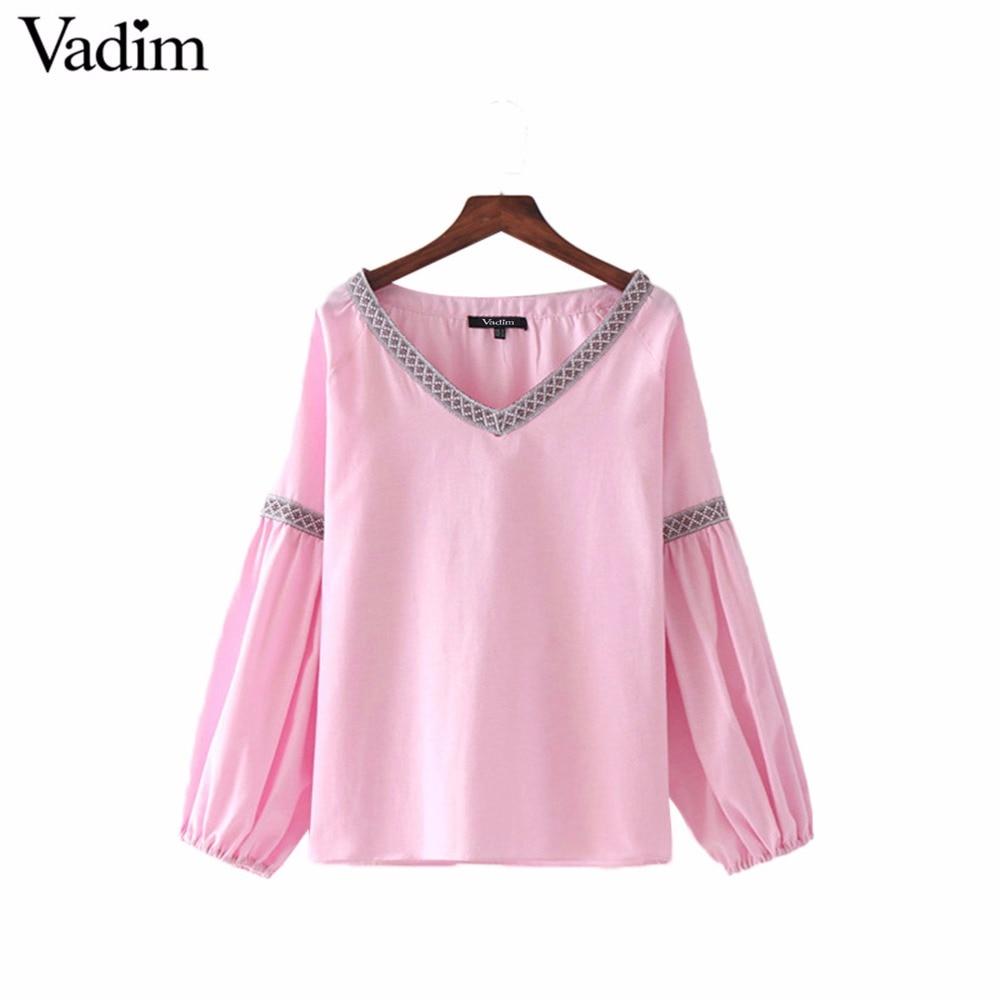 Dress up diary baju pelaut - Vadim Wanita Bergaya V Neck Lipit Pink Blus Manis Lentera Lengan Kemeja Padat Wanita Kasual Merek