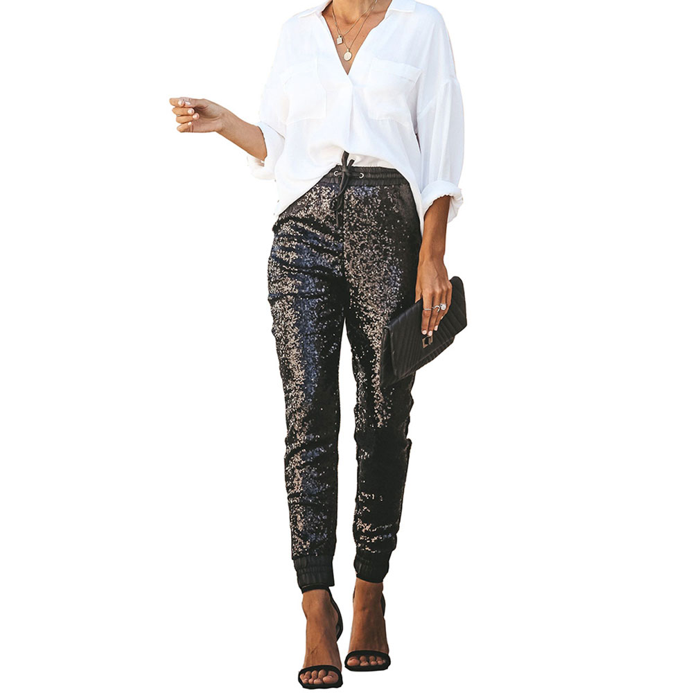 Black Sequin Trousers Women Sparkle Metallic Pants Patchwork Elastic Waist PU Leather Pencil Pants 2019 Casual Clubwear Fashion