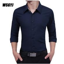 Men'S Clothing Brand 2017 Fashion Male Shirt Long-Sleeves Tops Simple Solid Color Mens Dress Shirts Slim Men Shirt XXL