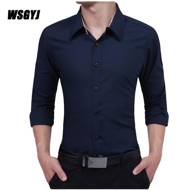 702a8d1cd15 Hommes vêtements marque 2017 mode homme chemise à manches longues hauts  Simple couleur unie hommes robe