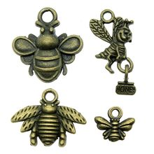 Vintage Antique Bronze Color Bee Charm Pendants For Jewelry Making HoneybeeCharms Jewelry Accessories(China)