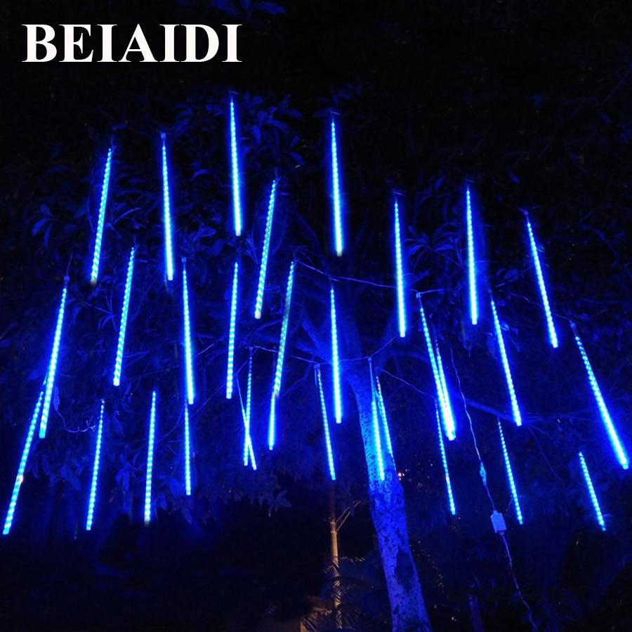 BEIAIDI 30/50cm Waterproof Rain Drop Lights String Connectable Meteor Shower Rain Tubes Light Outdoor Xmas Party Wedding Garland