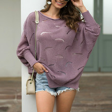 Autumn Winter Sweaters Sexy Ladies Tops Loose Sweater Fashion Women Female Hollow Hook Flower Knit Sueter Mujer