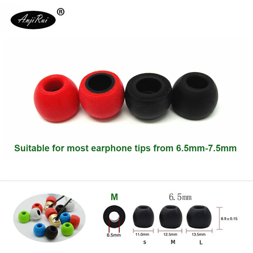 2 Pcs/1pair ANJIRUI TS400(L M S) 6.5mm Caliber Ear Pads/cap TS400 Memory Foam Eartips For In-ear Earphone Tips Sponge Ear Cotton