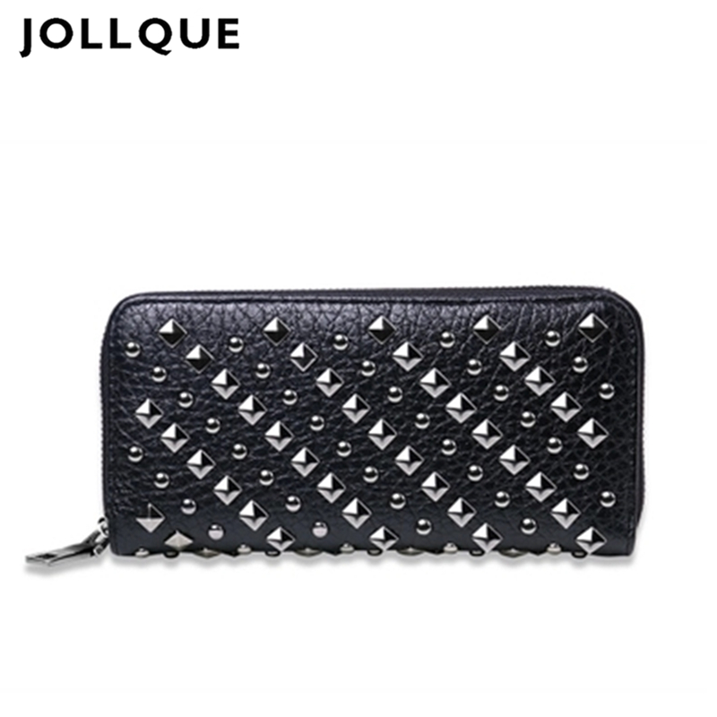 New fashion women wallet long pu leather purse clutch vintage punk cool rivets black/silver men wallet free ship men teens fashion cool purse american