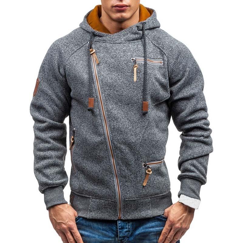 New Hoodie Men 2019 Spring Casual Solid Long Sleeve Mens Hoodies Sweatshirts Slim Zipper Hoody Sweatshirt Men Hooded Streetwear 1